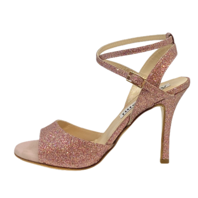 Maia Double Strap in Pink Party Glitter Coated Heels