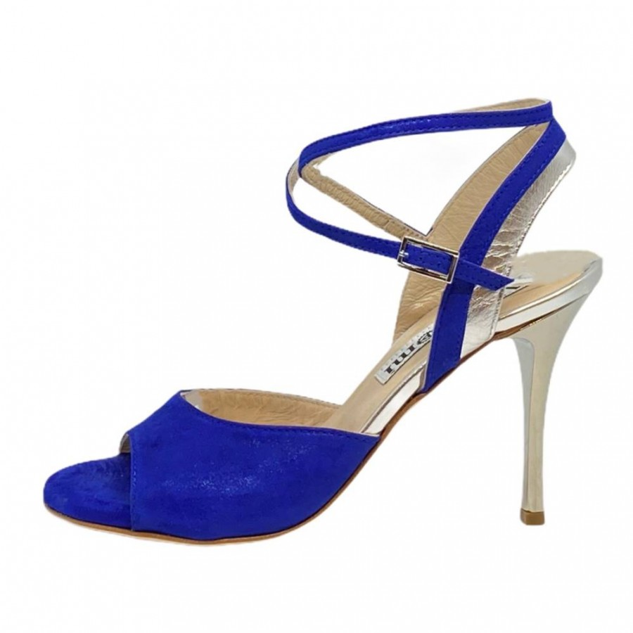 Nina Double Strap  Persian Blue and Silver Metallic Leather