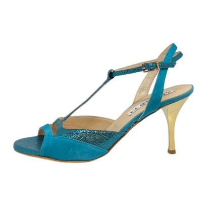 Alma Turquoise metallic and suede combo