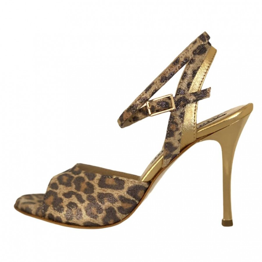Nina DS in Leo and Gold Metalic Leather