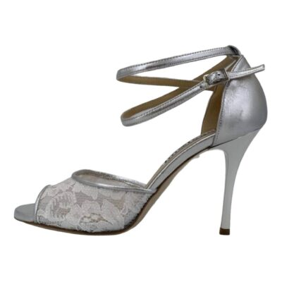 Isabel DS White Lace and Silver Metallic Leather
