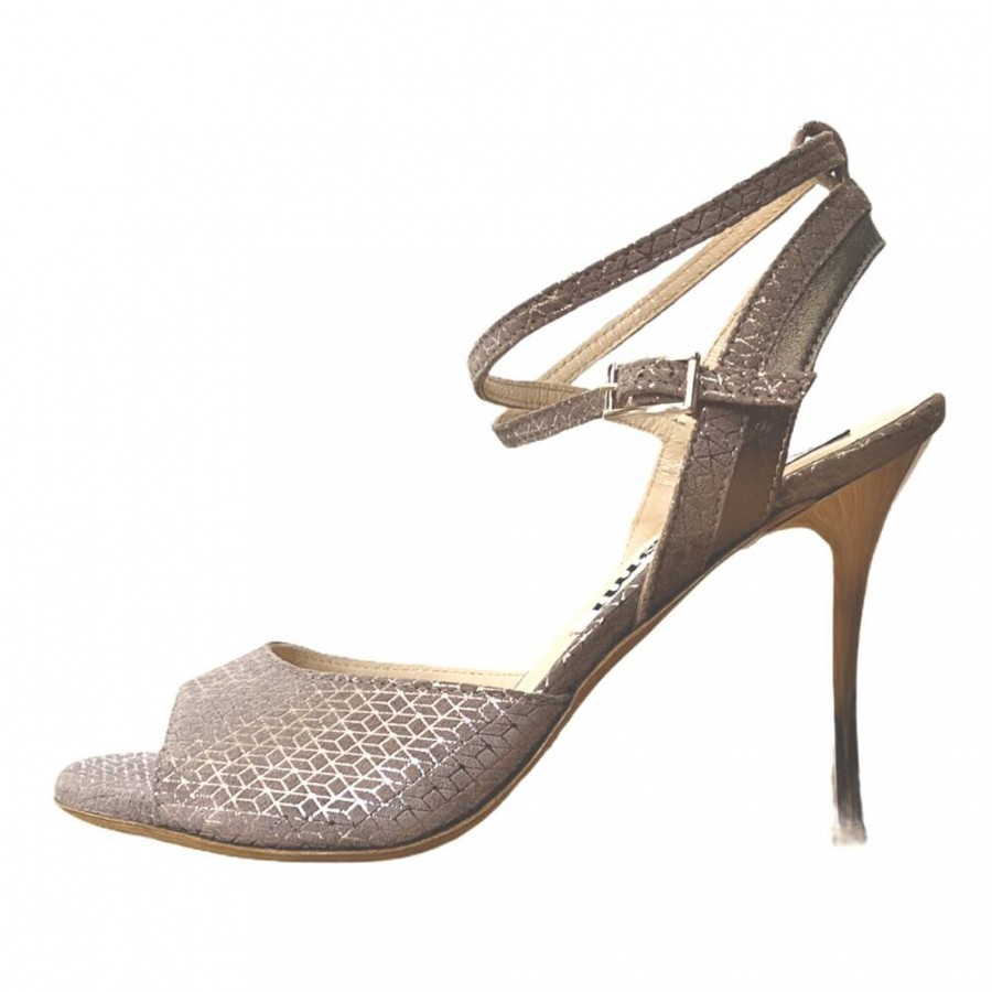 Nina Mink Silver  and Steel Leather Combination